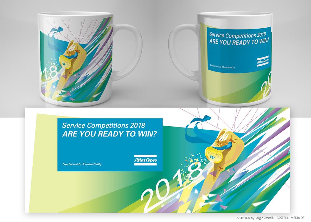 Tassen-Becher Design für die Competition Afür Atlas Copco
