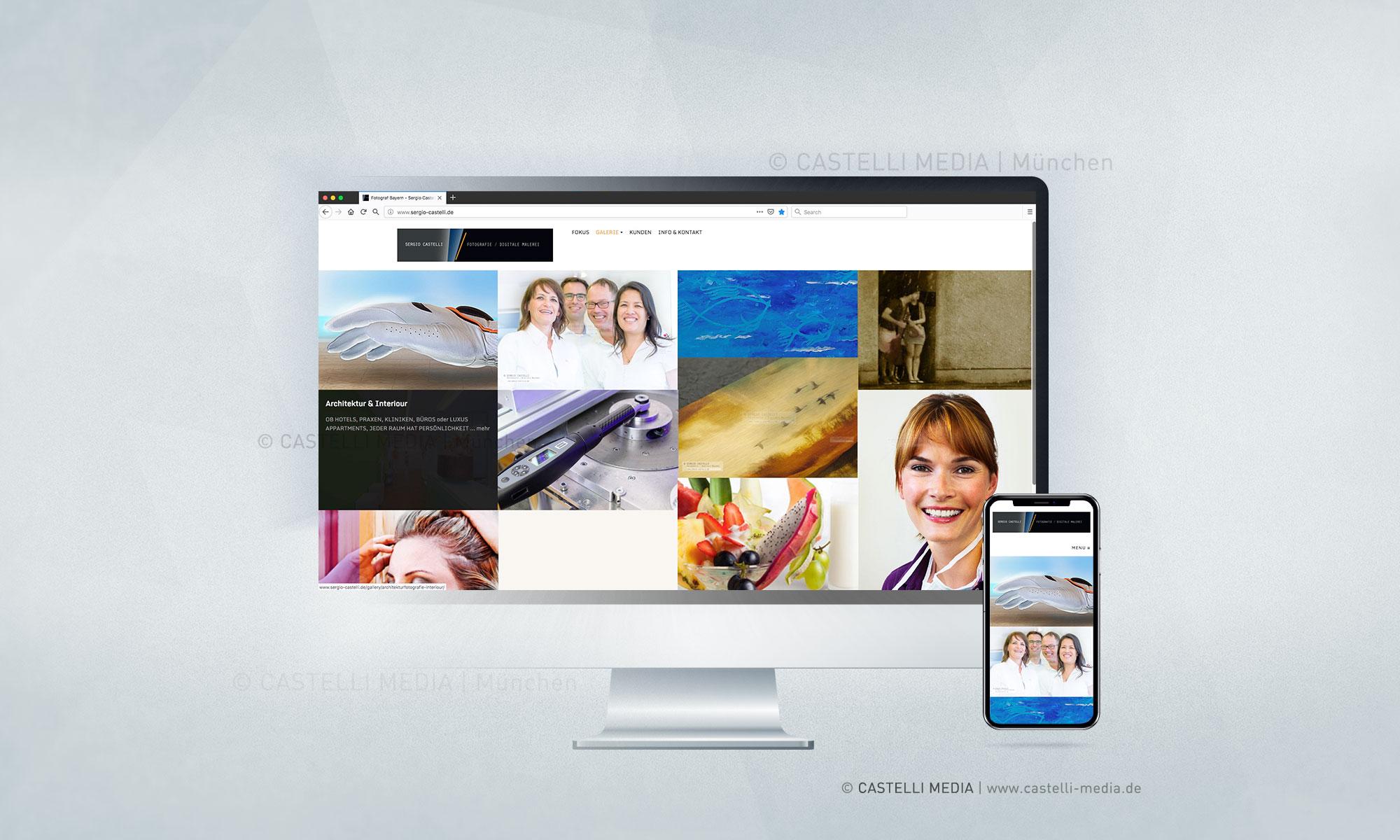 Screen einer Webseite für Fotografie von Produkte, Events, Portrait