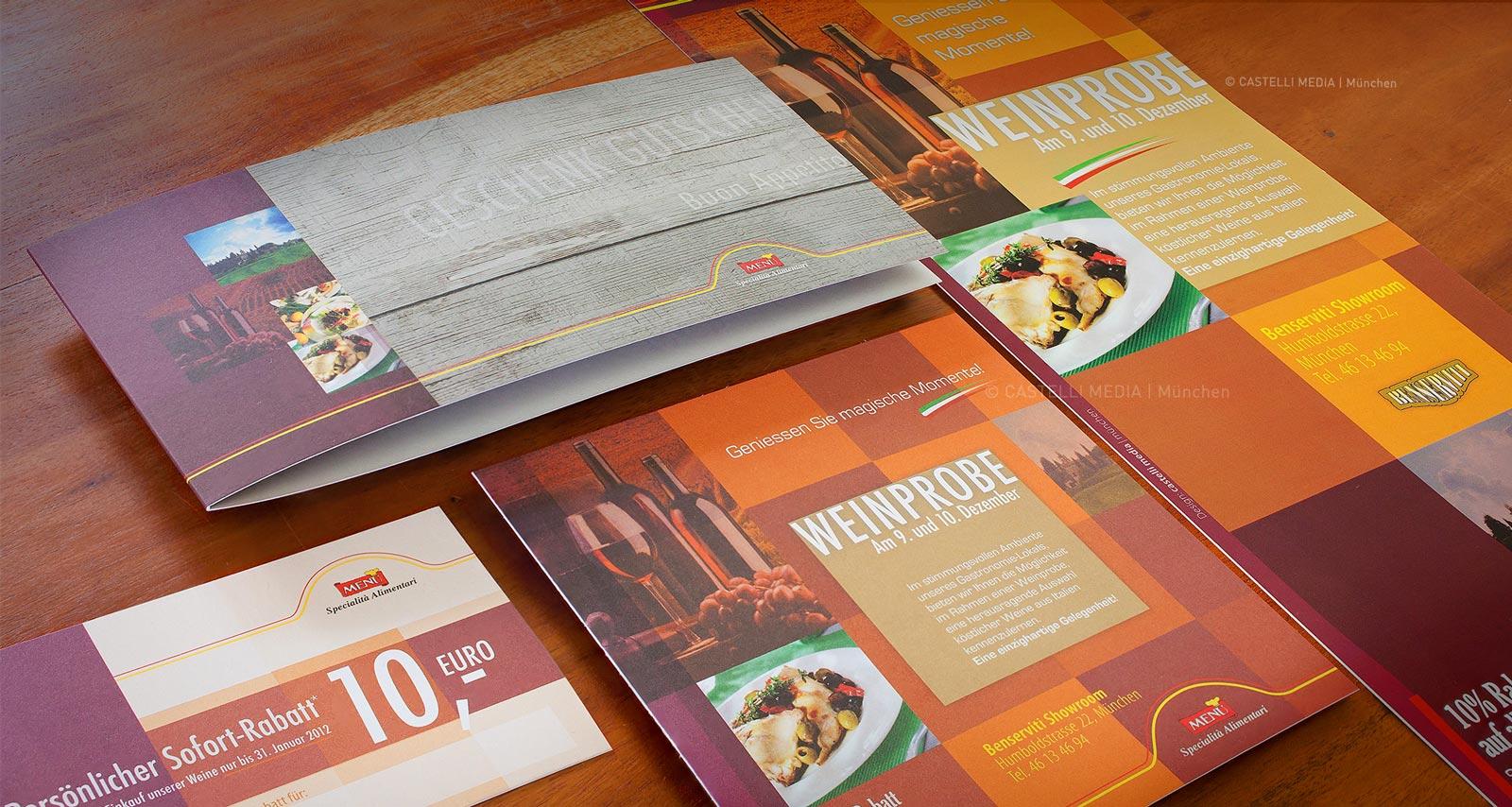 Broschuere, Rabattcoupon, Gutscheinkarte und Plakatdesing für Gastronomie und Restaurant