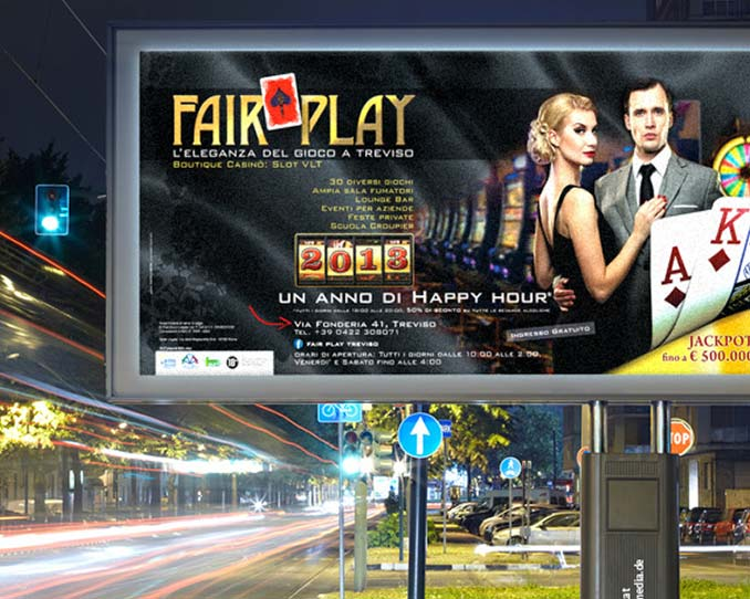 XL-Plakat einer Werbekampagne für ein Spiel-Casino in Italien