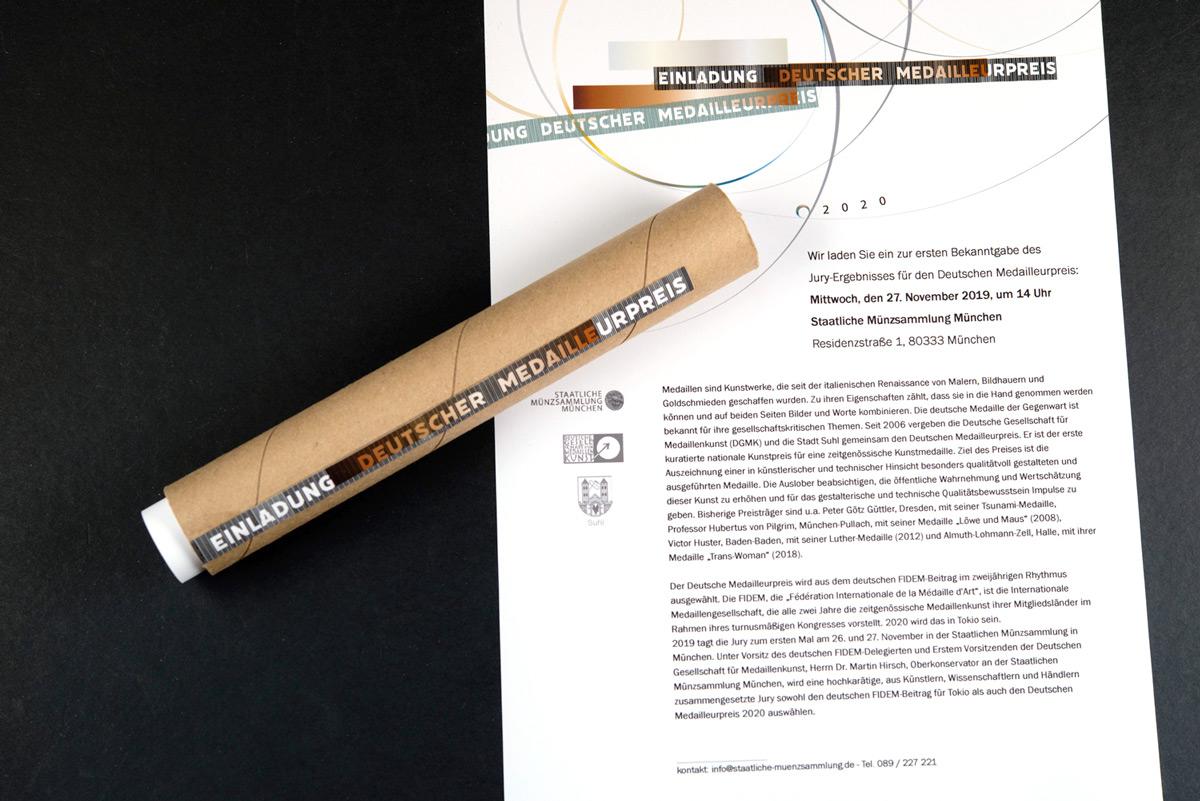 Mailing für den Deutscher Medailleurpris 2020